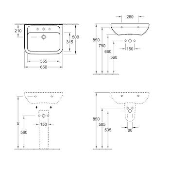 OMNIA ARCHIT Lavabo 1 3F 65x50 bianco alpin codice prod: 51756501 product photo Foto1 L2