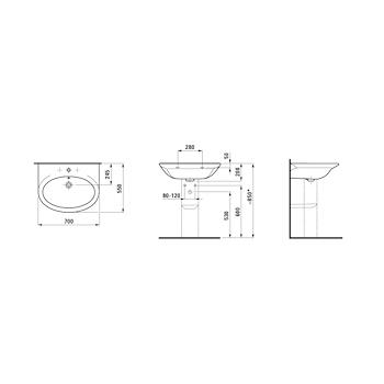 GALLERY Lavabo 70x55 bianco codice prod: 8101750000001 product photo Foto1 L2