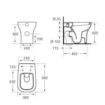 ACTIVE WC filo parete con sedile rallentato bianco codice prod: T316901 product photo Foto1 L2