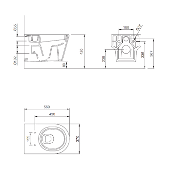 ASOLO WC sospeso con sedile 56x37 bianco codice prod: J394100 product photo Foto1 L2