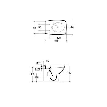 CANTICA vaso filo parete scarico universale con sedile bianco europeo codice prod: T317101 product photo Foto1 L2