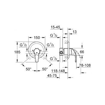Miscelatore GROHE EUROSMART da incasso doccia completo di corpoincasso cromato codice prod: 33556001 product photo Foto1 L2