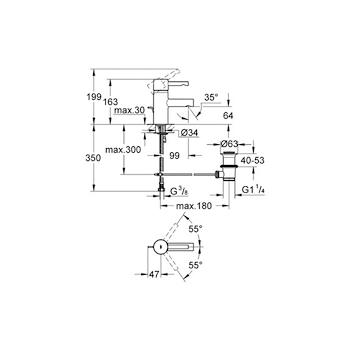 Miscelatore GROHE ESSENCE lavabo bocca bassa con saltarello,movimentoceramico e tubetti flessibili codice prod: 33562000 product photo Foto1 L2