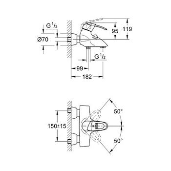 Miscelatore GROHE CHIARA Vasca Esterno(con doccetta e flessibile) cromato 3230 codice prod: 32306000 product photo Foto1 L2