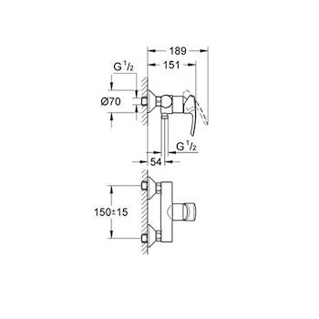 Miscelatore GROHE EUROSTYLE mix doccia esterno con attacco flessibiledoccetta movimento ceramico cro codice prod: 33590001 product photo Foto1 L2