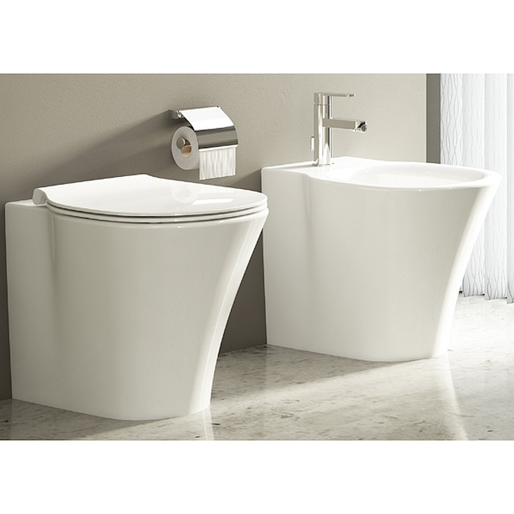 SERIE CONNECT AIR AQUABLADE FILO PARETE WC E0043  + BIDET E0180  + SEDILE product photo