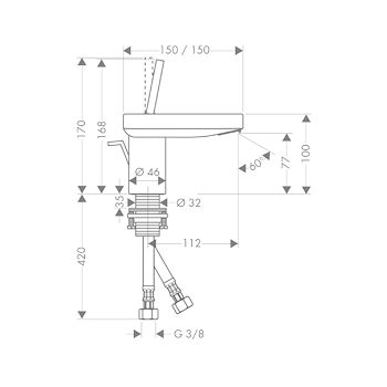AXOR STARCK X 10070 miscelatore lavabo cromatO codice prod: 10070000 product photo Foto1 L2