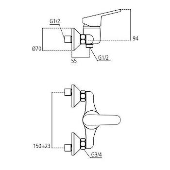 Miscelatore IDEAL STANDARD CERAPLAN2 mix doccia esterno senza doccettacromato codice prod: B0255AA product photo Foto1 L2