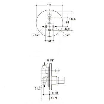 Miscelatore IDEAL STANDARD ALFIERE Doccia Incasso(solo parte esterna)cromato con deviatore codice prod: A5204AA product photo Foto1 L2