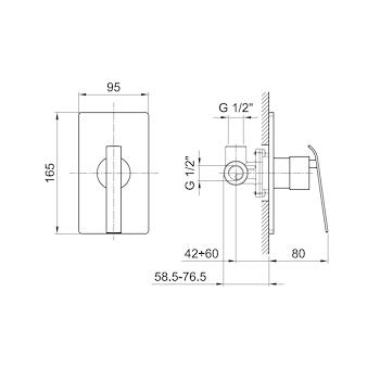 Miscelatore FANTINI RUBINETTERIA AR 38 mix doccia senza maniglia codice prod: 38023363S product photo Foto1 L2