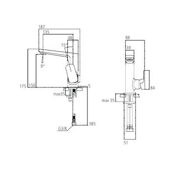 TONIC II A6333 MISCELATORE LAVABO CROMATO SENZA ASTA DI COMANDO codice prod: A6333AA product photo Foto1 L2