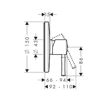 TALIS CLASSIC 14165 PARTE ESTERNA MISCELATORE DOCCIA CROMATO codice prod: 14165000 product photo Foto1 L2