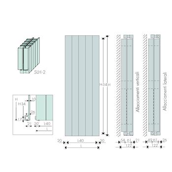 Scaldasalviette BREM PROLUX radiatore h.200 l.70 w.2947 bianco codice prod: SLH 200-2- 70/+25 product photo Foto1 L2