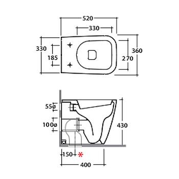 STONE WC 52.36 MULTI FILO PARETE CON FISSAGGI GHOST BIANCO LUCIDO codice prod: ST002BI product photo Foto1 L2