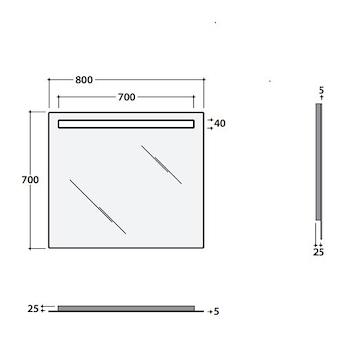 SPECCHIO FILO LUCIDO 80X70 RETROILLUMINATO LED CON INTERRUTTORE TOUCH codice prod: BPS080 product photo Foto2 L2