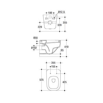 IMAGINE WC filo parete scarico universale con sedile chiusura rallentata bianco codice prod: T314901 product photo Foto1 L2
