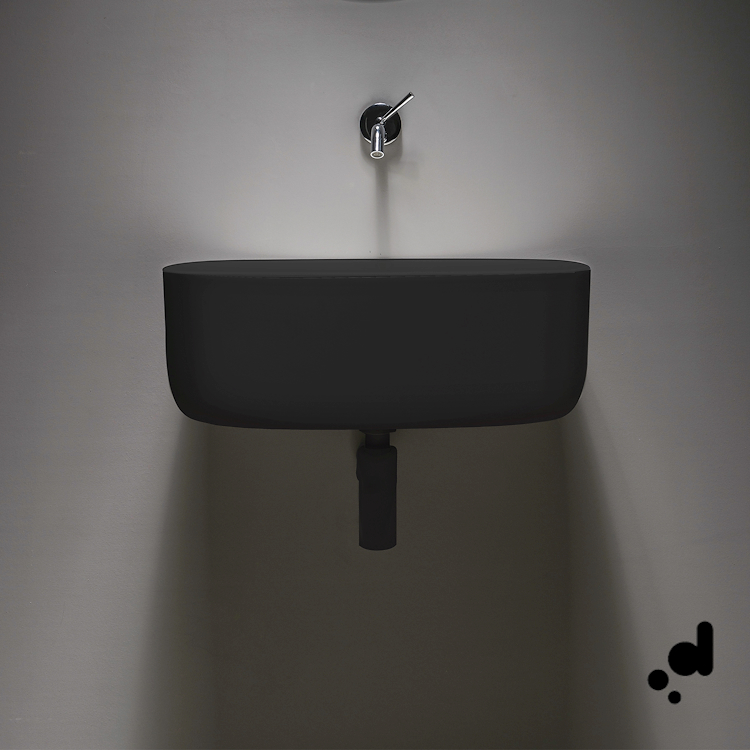 BOUNCE LAVABO POLIURETANO MORBIDO INCASSO 56X35 NERO codice prod: EVLABOUN product photo