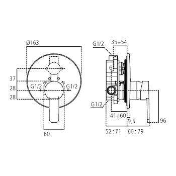 GIO' A6669 MISCELATORE DOCCIA INCASSO PARTE ESTERNA CROMATO codice prod: A6669AA product photo Foto1 L2