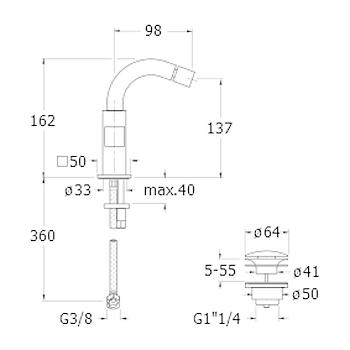 """QUADRI QD320 GR/BIDET 1F PILETTA 1""""1/4 UP&DOWN CROMATO codice prod: LICQD32051 product photo Foto1 L2"""
