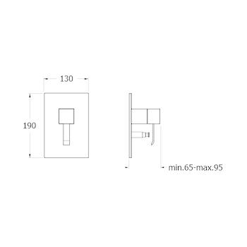 QUADRI QM659 MISCELATORE DOCCIA/VASCA INCASSO PARTE ESTERNO CON PIASTRA ABS CROMATO codice prod: LISQM65951 product photo Foto1 L2