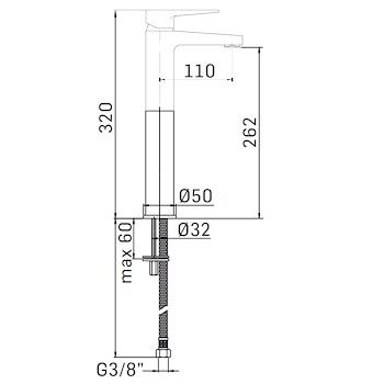 LOGOS+ 4506 MISCELATORE LAVABO ALTO CON SCARICO TUBI FLESSIBILI CROMO codice prod: 45060000L001 product photo Foto1 L2