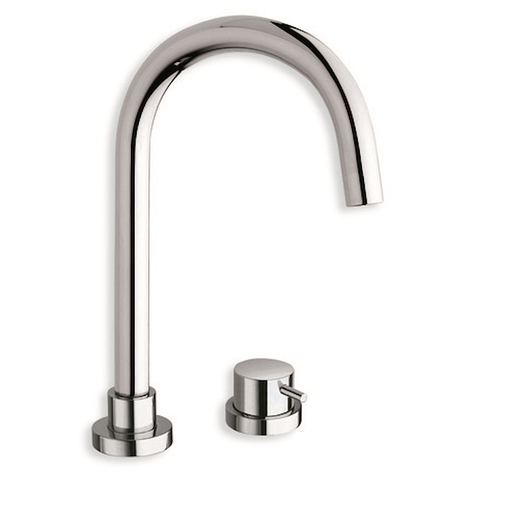 "TRICOLORE VERDE TV224 MISCELATORE LAVABO REGULAR 2 FORI PILETTA 1""1/4 UP&DOWN CROMATO codice prod: LISTV22451 product photo"