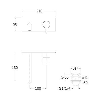 TRICOLORE VERDE RUBINETTO LAVABO A PARETE CON PILETTA codice prod: LISTV25651 product photo Foto1 L2