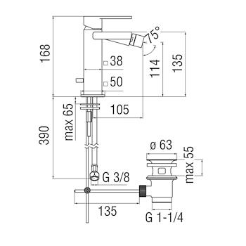 "LOOP LP90119/1 MISCELATORE BIDET SCARICO 1""1/4 CROMATO codice prod: LP90119/1CR product photo Foto1 L2"
