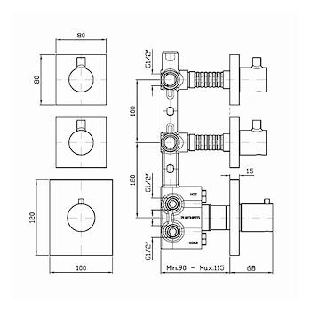R97821 PARTE INCASSO 2 ARRESTI MISCELATORE DOCCIA codice prod: R97821 product photo Foto1 L2