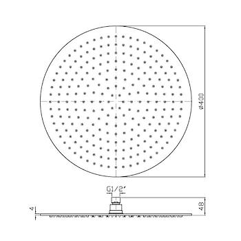 Z94273 SOFFIONE 1 GETTO FISSO 40 CM CON SISTEMA ANTICALCARE CROMATO codice prod: Z94273 product photo Foto1 L2