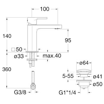 MISCELATORE LAVABO REGULAR CROMATO codice prod: CRIOG22051 product photo Foto1 L2