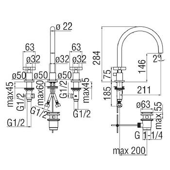 LIRA RUBINETTO LAVABO 3 FORI codice prod: LR116211/5CR product photo Foto1 L2