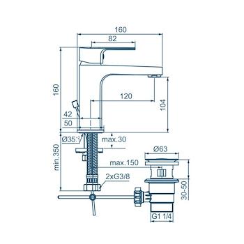 CERAFINE D BC686 MISCELATORE LAVABO BIDET 1 FORO CROMATO codice prod: BC686AA product photo Foto1 L2