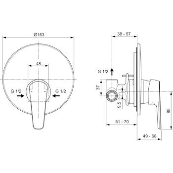 ALPHA A7184 MISCELATORE DOCCIA INCASSO CROMATO codice prod: A7184AA product photo Foto1 L2