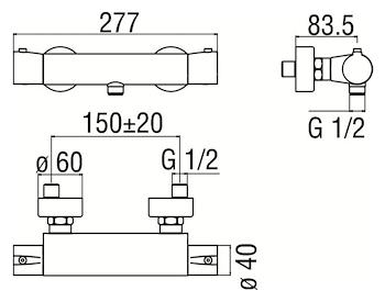 ACQUAVIVA VV103030 MISCELATORE DOCCIA ESTERNO CROMO codice prod: VV103030CR product photo Foto1 L2