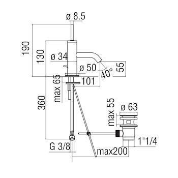 """ACQUERELLI AJ93118/1 MISCELATORE BIDET SCARICO 1""""1/4 JOYSTICK CROMATO codice prod: AJ93118/1CR product photo Foto1 L2"""