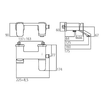 TONIC II A6338 MISCELATORE VASCA/DOCCIA  ESTERNO SENZA COMPONENTI DOCCIA CROMATO codice prod: A6338AA product photo Foto1 L2