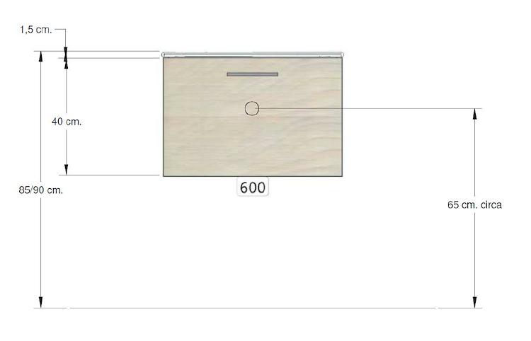 BASE CHAGALL SOSP.1 CASS. L 60 H 40 P 50 TOP CERAMICA C/LAV.INTEGR.SHW PERGAMON codice prod: DSV16539 product photo