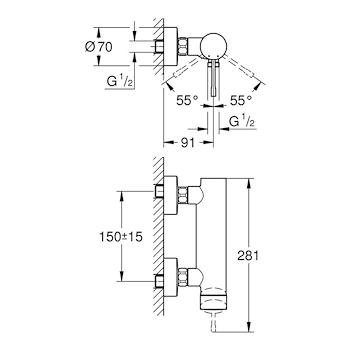 ESSENCE NEW 33636 MISCELATORE DOCCIA ESTERNO PARETE CROMATO codice prod: 33636001 product photo Foto1 L2