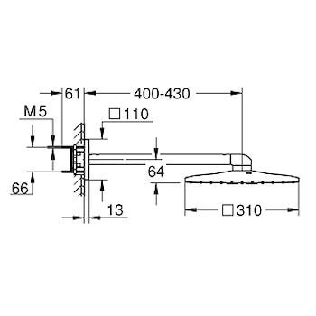 RAINSHOWER SMARTACTIVE 310 CUBE 26479LS0 SOFFIONE/BRACCIO PARETE 2 GETTI BIANCO codice prod: 26479LS0 product photo Foto1 L2