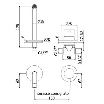 LIGHT LIG00770 MISCELATORE LAVABO PARETE INCASSO CROMATO codice prod: LIG007CR70 product photo Foto1 L2