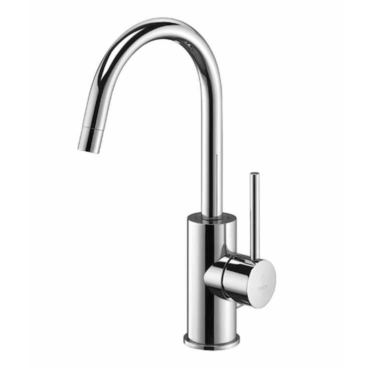 "LIGHT LIG077 MISCELATORE LAVABO BOCCA ALTA GIREVOLE  PILETTA 1""1/4 CROMATO codice prod: LIG077CR product photo"
