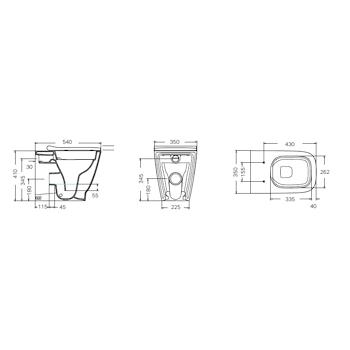 SMYLE 500.829.00.1 WC RIMFREE FILO PARETE CON SEDILE TERMOINDURENTE QUICK RELEASE BIANCO codice prod: 500.829.00.1 product photo Foto1 L2