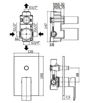 ELLE-EFFE EL015CR MISCELATORE DOCCIA CROMATO codice prod: EL015CR product photo Foto1 L2