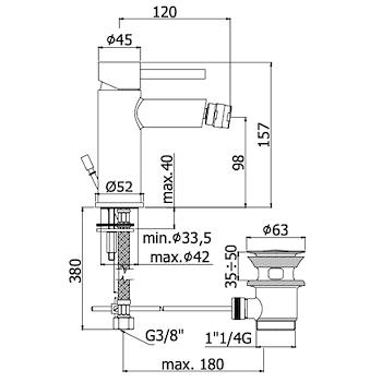 STICK SK131H MISCELATORE BIDET SENZA SCARICO CROMATO codice prod: SK131HCR product photo Foto1 L2