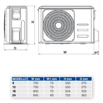 DIAMANT S 12 2CO9A21F UNITA' ESTERNA POMPA CALORE INVERTER SF 5,40KW/PC4,20 KW R32 codice prod: 2CO9A21F product photo Foto1 L2