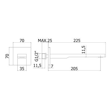 """TANGO ZBOC121CR BOCCA PARETE RETTANGOLARE 1/2"""" CON PIASTRA CROMATO codice prod: ZBOC121CR product photo Foto1 L2"""