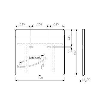 OPTION 819270000 SPECCHIO PARETE CON LED L70 P3 H65 ARROTONDATO codice prod: 819270000 product photo Foto1 L2