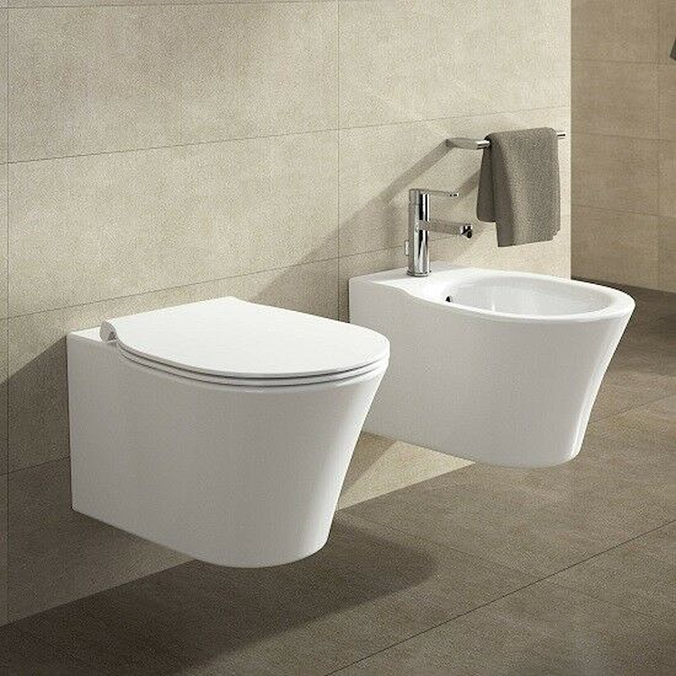 SERIE CONNECT AIR AQUABLADE SOSPESO WC E008701 + BIDET E026601 + SEDILE product photo
