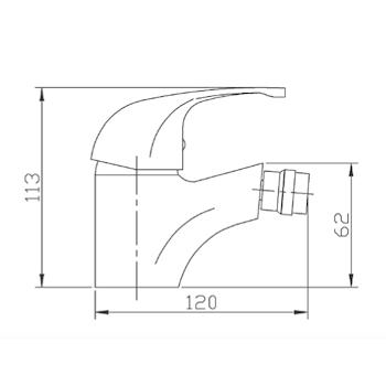 """PRINCE P101 MISCELLATORE BIDET CON SCARICO 1""""1/4 CROMATO codice prod: P101CR00GB product photo Foto1 L2"""